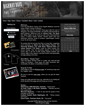 Highway Dave and The Varmints New Website